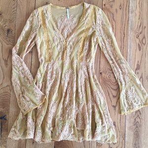 Free People lace long sleeve mini dress